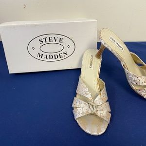 Steve Madden Champagne Fabric Open Toed Heels
